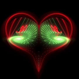 Homespun Holiday by Nancy Bowen - Illustration Holiday ( black background, red, green, white, spiral, fractal )