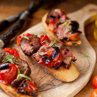 Coffee Rubbed Flank Steak Crostini
