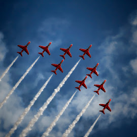 Reds Edit 6 by Kelly Murdoch - Transportation Airplanes ( clouds, red arrows, uk, sky, cloud, red arrows 09, display, raf, englland, ztam )