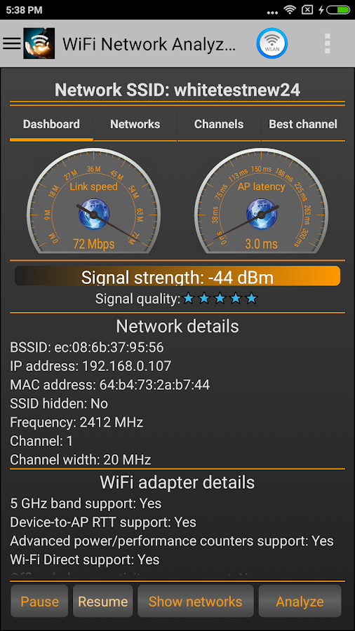 WiFi Analyzer Pro Screenshot 2