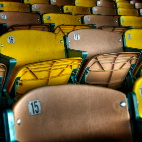 Dirty Seats by Scott Wood - Artistic Objects Furniture ( urban, dog track, urbex, arizona, decay )