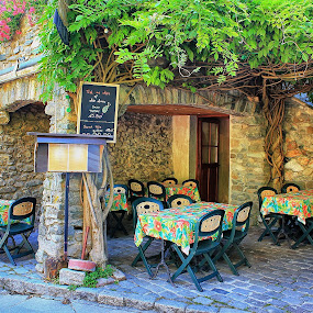 Waiting for customers by Ingrid Dendievel - City,  Street & Park  Street Scenes ( yvoire, street, summer, france, restaurant )