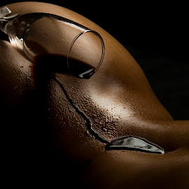 Shadow Bride by Ruari Plint - Nudes & Boudoir Artistic Nude ( wine, spine, nude, bodyscape, running, shadows, sexy, female, naked, dripping, glass, dark, skinned, bride )