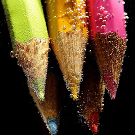 Pencils by Vineet Johri - Artistic Objects Still Life ( water, vkumar, sharp, bubbles, pencils,  )