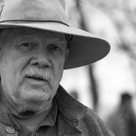 B&W Farmer Joe by Eva Ryan - People Portraits of Men ( oklahoma, male, battle of round mountain, black & white, outdoors, civil war re-enactment, yale_ok, mustache, man, hat )