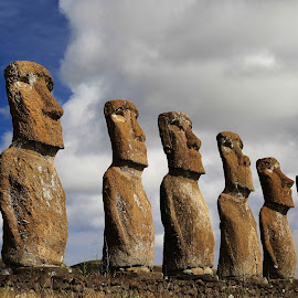 Ahu Akivi moai by Tadas Jucys - Buildings & Architecture Statues & Monuments ( chile, cloukd, sky, easter, 7, blue, statues, composition, ahu, moai, monument, akivi, island )
