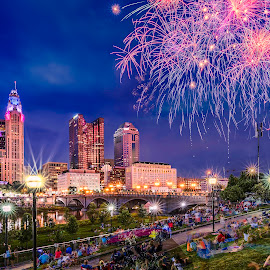 4th of July 2017 fireworks by Rami Yazagi - City,  Street & Park  Vistas ( building, skyline, urban landscapes, fireworks, festival, architecture, cityscape, celebration, downtown, travel photography, city,  )