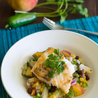 Seared Cod with Pineapple and Peach Salsaa