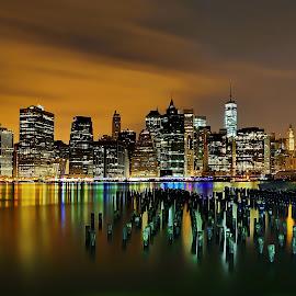 New York @ Night by Mike Lennett - City,  Street & Park  Skylines ( reflection, colors, east river, long exposure, manhattan, new york, the sticks, brooklyn )