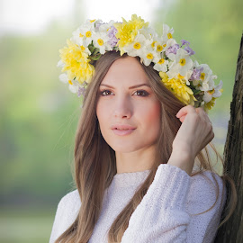 Spring ferry by Dragos Enache - People Fashion ( sweater, brown eyes, dreamy, ferry, long hair, beautiful, beauty, flowers, spring, eyes )