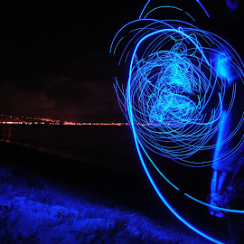 Happy 4/20 by Benjamin Salazar - Abstract Light Painting ( blue, night, beach, painting, light )