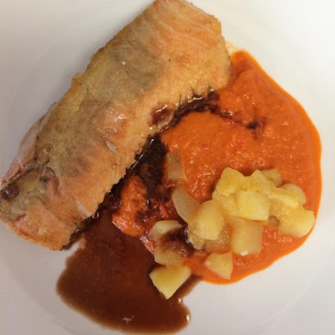 Salmon with Red Pepper Coulis
