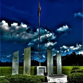 War Memorial by Hal Gonzales - City,  Street & Park  City Parks ( marble, flag, warrior, war, monument, memorial,  )