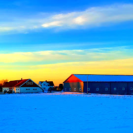Sunset farm  by Mathias Hansen - Buildings & Architecture Homes ( field, farm, sky, winter, sunset, snow, buildings, landscape )
