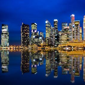 Blue Hour City Lights @Singapore by Pat Law - Landscapes Travel
