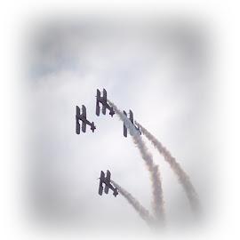 Air Show by Sandy Stevens Krassinger - Transportation Airplanes ( contrails, bi-planes, airplane, transportation, air show )