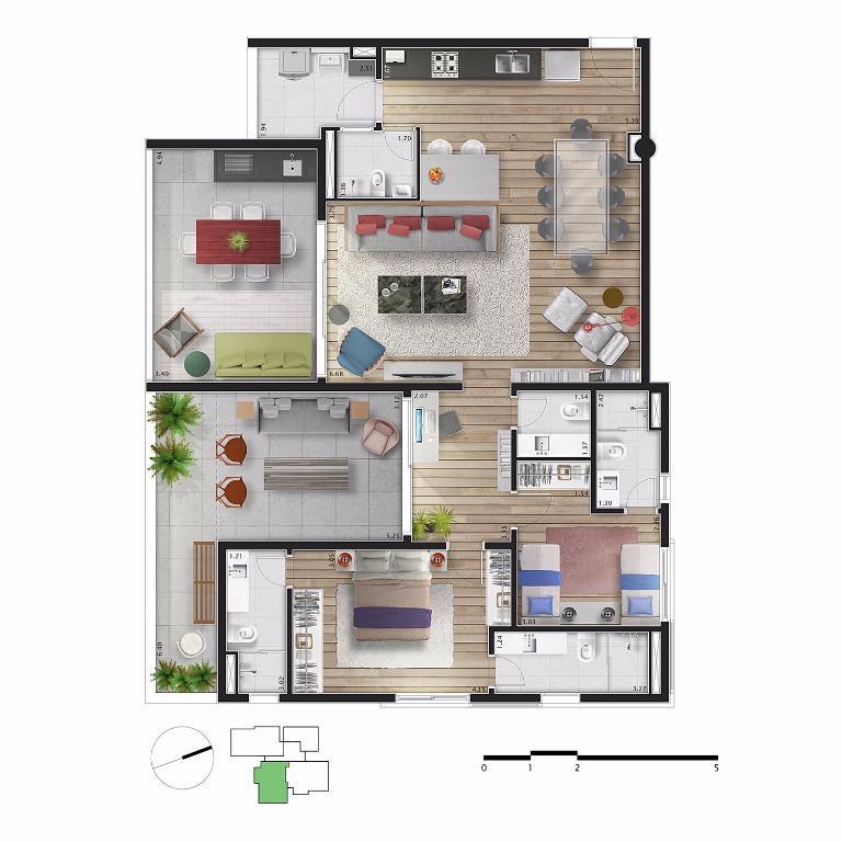 Planta Apto 12 - 155 m²