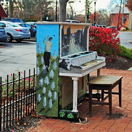 Dropping by for a Ditty in Dublin by Michiale Schneider - Artistic Objects Musical Instruments ( music, painted, piano, colorful, street, instrument )