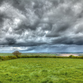 Padstow Getting Rained On by Nat Parnell - Landscapes Prairies, Meadows & Fields