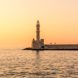 by Nikos Diavatis - Buildings & Architecture Statues & Monuments ( silhouette, sunset, greece, chania, crete )