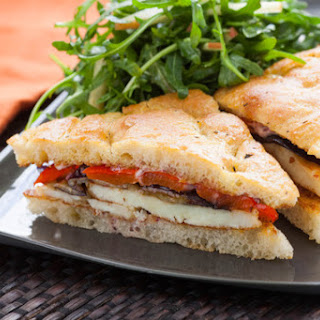 Seared Halloumi Sandwiches on Focaccia with Roasted Vegetables & Fuji Apple Salad
