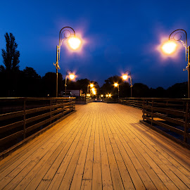 Night bridge. by Katarzyna Najderek - Buildings & Architecture Bridges & Suspended Structures ( bride, drama, town, night, poland, dreams, photography, architecture )