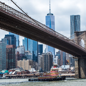 Looking Towards The City by Thomas Shaw - City,  Street & Park  Skylines ( sky, city, nikon d7200, one world trade center, clouds, new york, water, nikon, new york city, brooklyn, buildings, river, bridge, brooklyn bridge, photography )