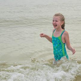 aah it's cold by Michael Graham - Babies & Children Children Candids ( waves, florida, gulf, ocean, swimming )