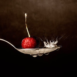 splash by Alex supertramp Bukowski - Artistic Objects Cups, Plates & Utensils ( ciliegia, cherry, macro, lefotodialex, goccia, drop, snap, cucchiaio, spalsh, photo, close up, photography )