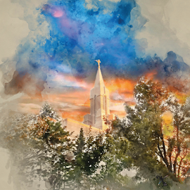 Bountiful Temple Watercolor by Valerie Aebischer - Digital Art Places ( mormon temples, mormon temple, bountiful lds temple, lds temple, lds, mormon, lds temples )