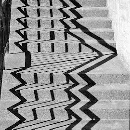 stairs by Billy Kennedy - Abstract Patterns ( stairs, handrail, steps, shadows )