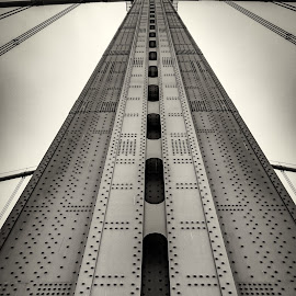 Bridge Tower by Dutch Bagley - Black & White Abstract ( fog, cable, bridge, philadelphia, steel, rivets, river )