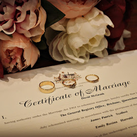 Marriage certificate with flowers and rings by Jodie Graham - Wedding Details