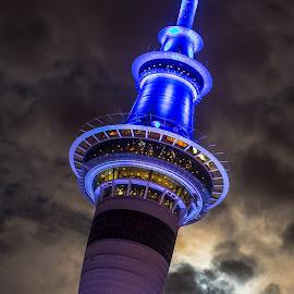 Sky Tower, Auckland. by Graeme Hunter - Buildings & Architecture Office Buildings & Hotels