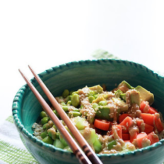 Veggie Roll Rice Bowl with Creamy Sesame-Wasabi Dressing