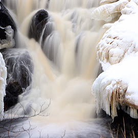 Winter Water by Scott Block - Nature Up Close Water ( water, ely, moving water, winter, ice, waterfall, frozen )
