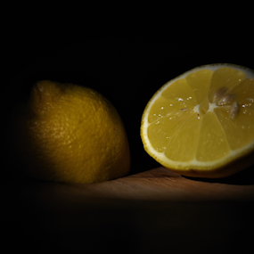 Lemon on scene by Luka Mitrović - Food & Drink Fruits & Vegetables ( lemon, cut, half, scene,  )
