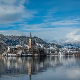 by Mario Horvat - City,  Street & Park  Historic Districts ( water, sneg, touristic, winter, slovenija, church, snow, slovenia, bled, lake, travel, jezero, island )