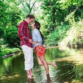Creek by Paul Hamilton - People Couples ( water, love, nature, creek, trees, couple, backyard, landscape, kentucky, engagement,  )