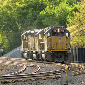 Running Lite by Rick Covert - Transportation Trains ( railroad, locomotive, sunset, arkansas, railroad tracks, trains, local )