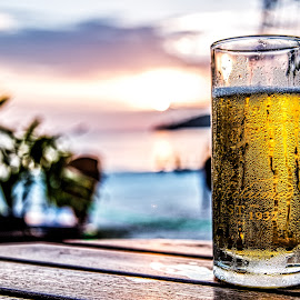 by Ralf Harimau Weinand - Food & Drink Alcohol & Drinks ( sonnenuntergang, beer, sunset, strand, bier, langkawi, beach, cenang )
