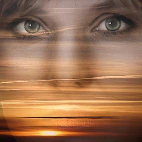 Yearning by Zenonas Meškauskas - Digital Art Abstract ( face, yearning, sunset, sunlite, eyes )