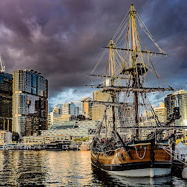 Sydney -HMB Endeavour replica- by Patric Rosberg - City,  Street & Park  Street Scenes ( skyline, reflection, harbor, ocean, beauty, architecture, travel, people, business, city, modern, center, life, sky, skyscraper, transport, buildings, central, sydney, water, financial, office, structure, building, beautiful, sea, tourism, photo, urban, landmark, tower, corporate, bay, color, sunset, outdoor, scene, scenery )