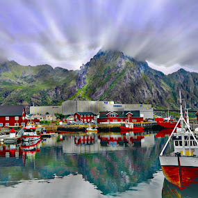 by Bente Agerup - Transportation Boats ( hills, mountains, boats, lofoten, norway )