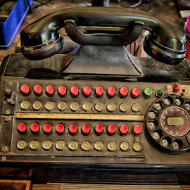 Telephone Switchboard by Marco Bertamé - Artistic Objects Other Objects ( handset, vintage, switchboard, buttons, round, number, circle, 3, 2, 1, 0, red, 7, 6, 5, 4, 9, 8, telephone, dial plate )