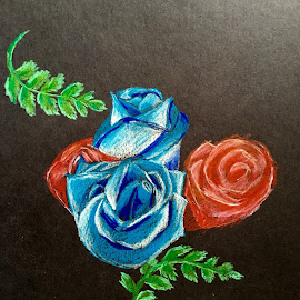 Blue Roses by Anika McFarland - Drawing All Drawing ( rose, red, blue, roses, flower, blue roses )