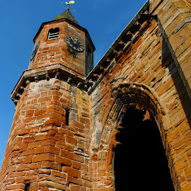 Clock Tower, Fortrose Cathedral Ruins by Tina Stevens - Buildings & Architecture Decaying & Abandoned ( 13th century, scotland, christian, building, clock, brick, windows, architecture, 1200s, tower, ruins, cathedral, medieval, fortrose, religious, abandoned )