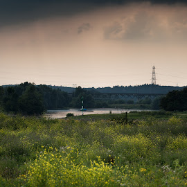 Meinerswijk1 by Tim Abeln - Landscapes Prairies, Meadows & Fields ( clouds, meinerswijk, rijn, dramatic, trees, bridge, yellow, landscape, flowers, river )