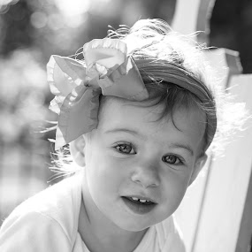 Bow by Todd Wallarab - Babies & Children Child Portraits ( girl, black & white, pink, bow, baby, cute, pretty )