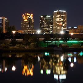 Birmingham, Alabama from Railroad Park by Larry Mathews - City,  Street & Park  Skylines ( reflection, skyline, birmingham, railroad park, night, city at night, street at night, park at night, nightlife, night life, nighttime in the city )